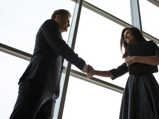 Business men and women shaking hands with a smile